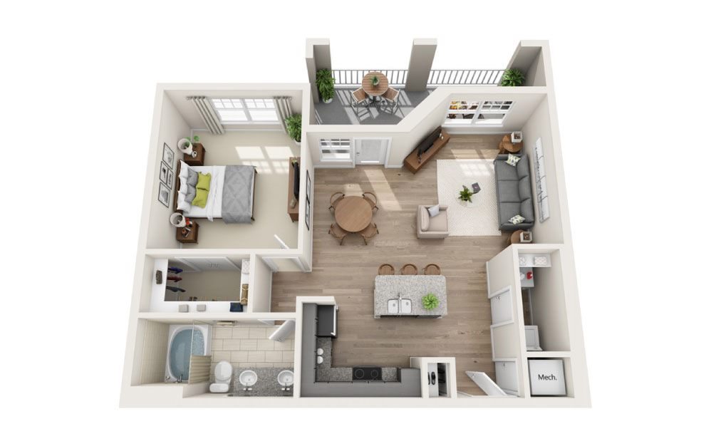 Alleghany  - 1 bedroom floorplan layout with 1 bath and 844 square feet.