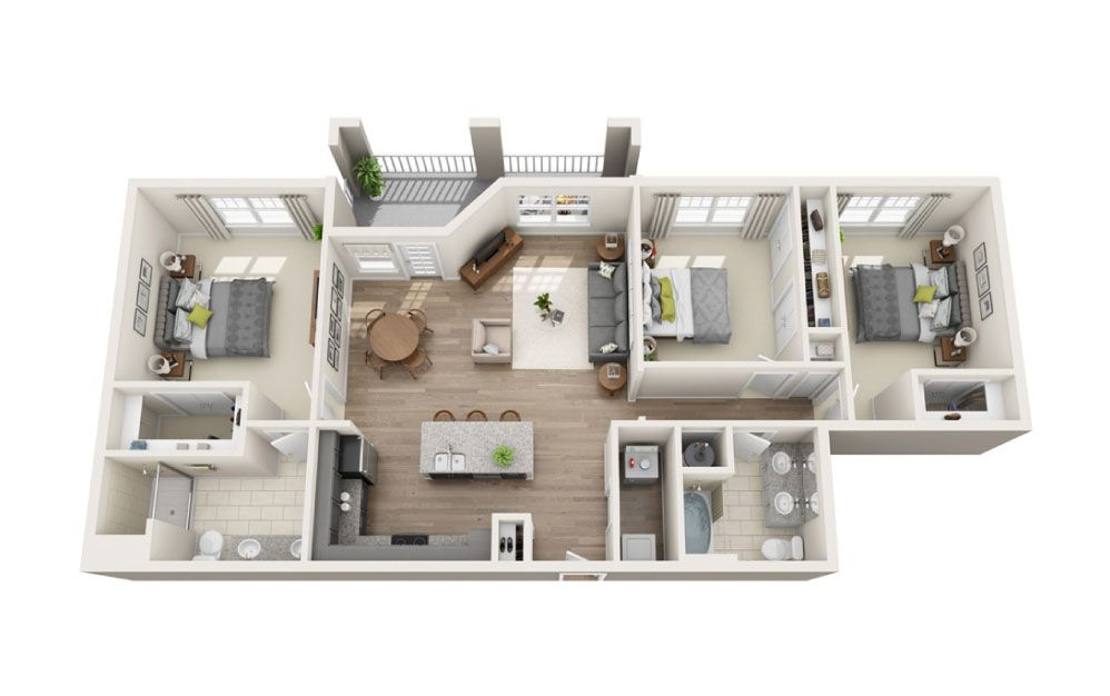 Biltmore - 3 bedroom floorplan layout with 2 baths and 1372 square feet.