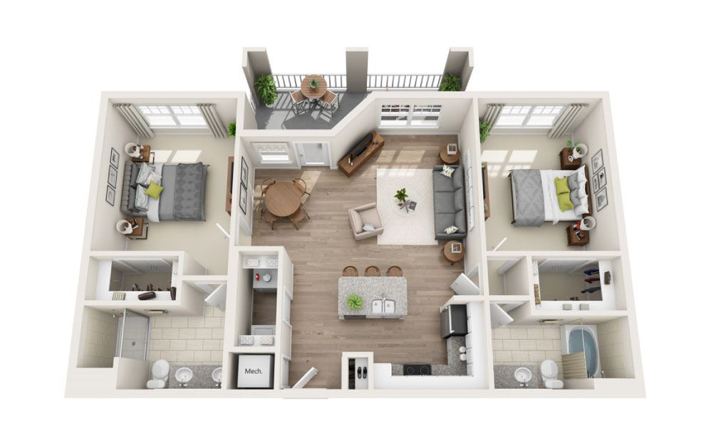 Castlewood - 2 bedroom floorplan layout with 2 baths and 1134 square feet.