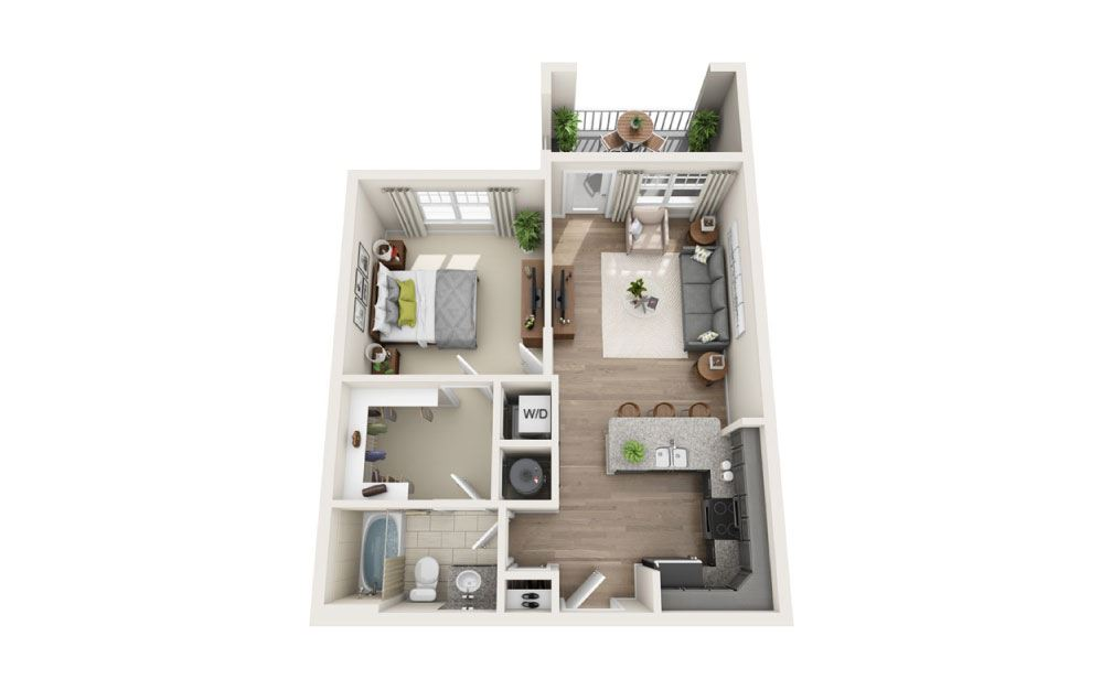Pisgah (Mid-rise) - 1 bedroom floorplan layout with 1 bath and 670 square feet.