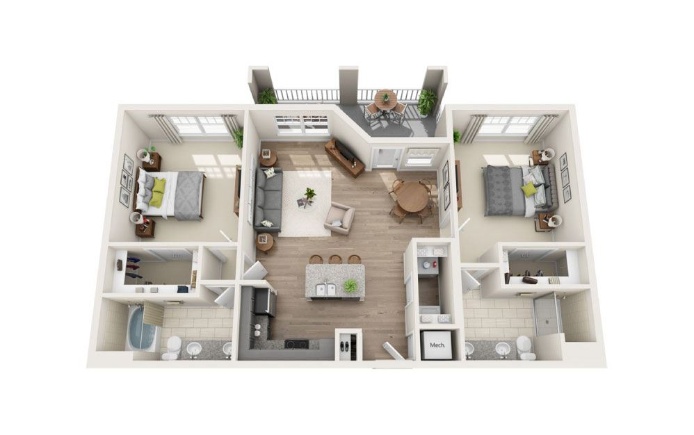 Castlewood (Dual Master) - 2 bedroom floorplan layout with 2 baths and 1186 square feet.