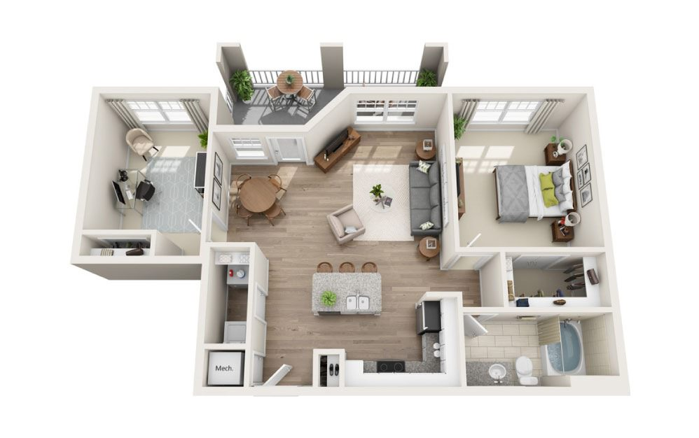 Alleghany + Den - 1 bedroom floorplan layout with 1 bath and 1006 square feet.