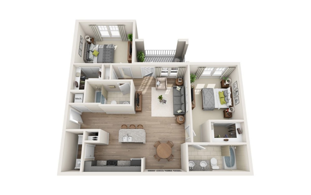 Highland - 2 bedroom floorplan layout with 2 baths and 1078 square feet.