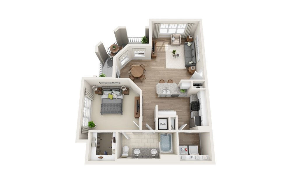 Lambuth - 1 bedroom floorplan layout with 1 bath and 862 square feet.