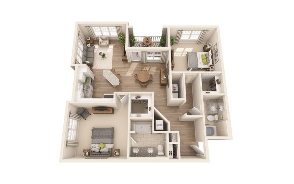 Laurelwood - 2 bedroom floorplan layout with 2 baths and 1236 square feet.