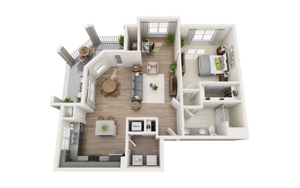 Oakland - 1 bedroom floorplan layout with 1 bath and 970 square feet.