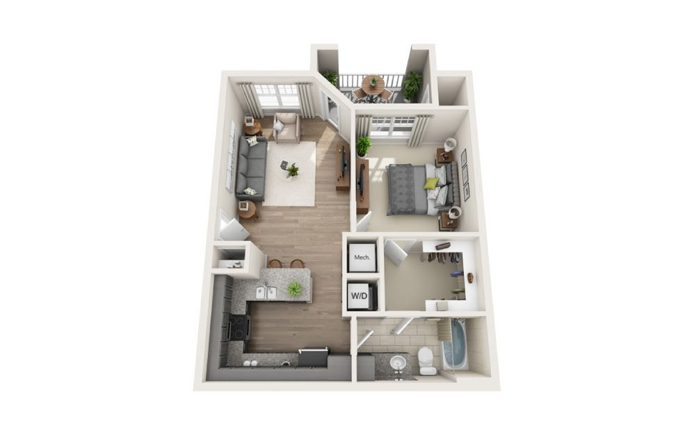 Pisgah (Garden) - 1 bedroom floorplan layout with 1 bath and 682 square feet.