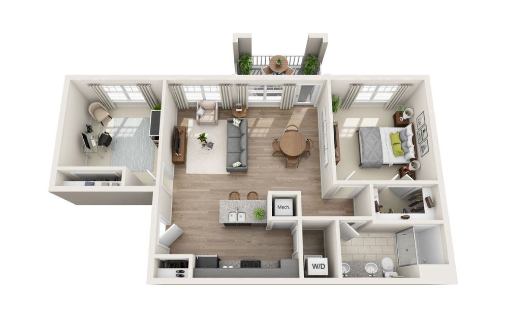 Fontana + Den - 1 bedroom floorplan layout with 1 bath and 935 square feet.