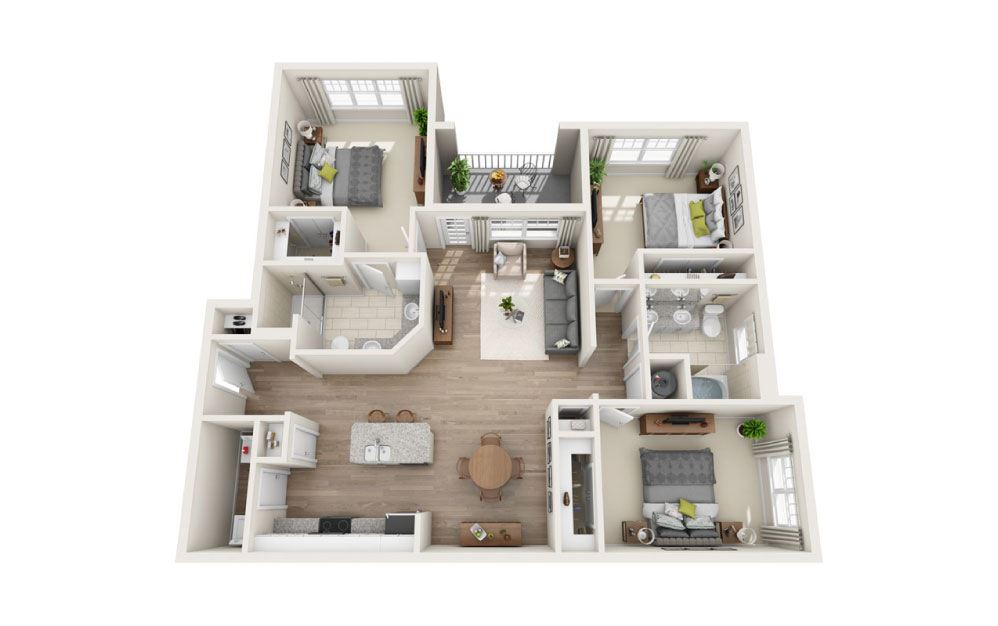 Windsor - 3 bedroom floorplan layout with 2 baths and 1372 square feet.